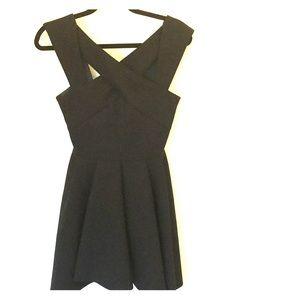 Maje Black Roxane Ross-Over Crepe Dress